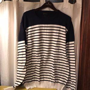 J Crew sweater blue white stripe mens large